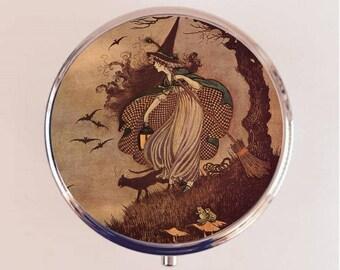 Witch Pill Box Case Pillbox Holder Trinket Stash Box Fairytale Fairy Tale Halloween Storybook Witchcraft