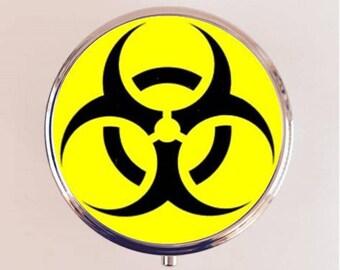 Biohazard Pill Box Case Pillbox Holder Trinket Stash Box Punk Pop Art