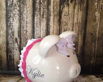 LARGE Personalized piggy bank girl, , Hot Pink Bow and tutu bank,large piggy bank, baby shower gift, newborn bank,