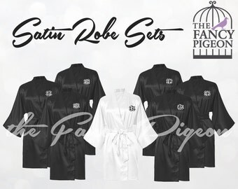 BLACK SATIN ROBES - Wedding Robe - Set of 7 Robes - Silk Robe - Bridal Party Robes - Wedding Robes - Bridal Robes - Bride Robe - Silk Robes