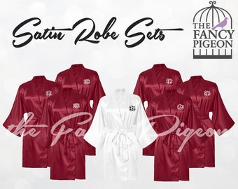 BURGUNDY SATIN ROBES - Satin Robe for Bridesmaids - Maid of Honor Robe - Wedding Robe - Silk Bridesmaid Robes - Dressing Gowns - Spa Robes
