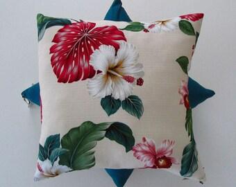 Red monstera tropical barkcloth cushion cover