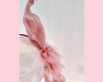 Pink Fascinator- Bird Headband- Pink Bird- Pink Feather Fascinator- Derby Fascinator- Kentucky Derby -Mad Hatter- Kentucky Oats- Pink Hat