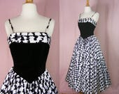 RESERVED - Vintage 1950s Style Evening Dress - Black and White Ball Gown - New Look Full Skirt Party Dress - Ceremonia Formal - 80s Does 50s