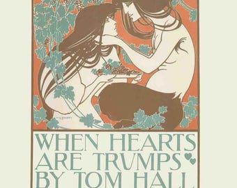 Will H. Bradley-When Hearts Art Trumps-1897 Lithograph