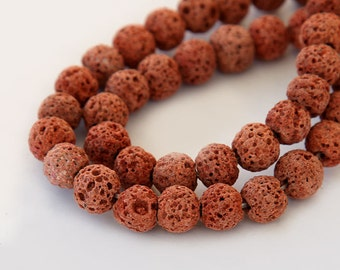 Lava Beads, Rust Brown, 8mm Round - 15 inch Strand - eGR-LV79-8