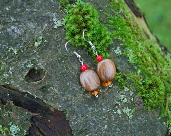 Oak Wood Amber Beads Earrings, Nature Eco Friendly Brown Earrings, Woodland Rustic Boho Earrings, Amber Wood Square Earrings, Brown Wood