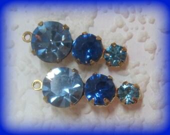 22mm Swarovski Crystals Light Sapphire 3 Blues Crystal Upside Down 3 Tier Multi Setting Round