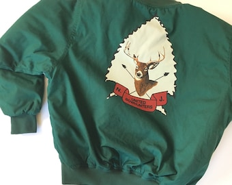 80s United Bowhunters N.J. Winter jacket/ forest green / hunting jacket/ deer jacket / XL
