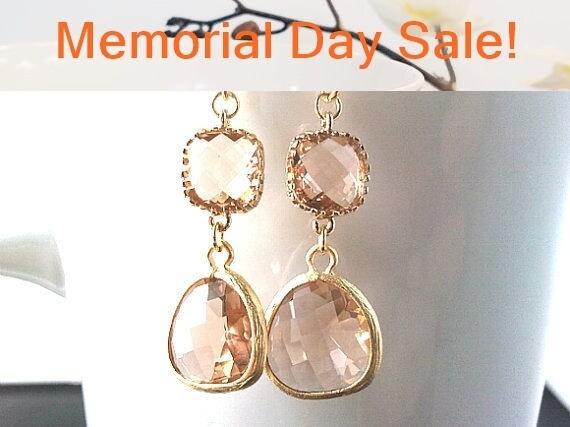 Peach Champagne Earrings, wedding earrings, Drop Peach Dangle Earrings cocktail, statement, Wedding Bridal Bridemaids Gifts