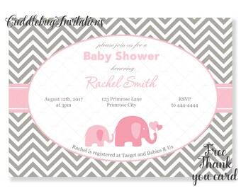 Pink Elephant Girl Baby Shower Invitation | Elephant Baby Girl Shower | Little Peanut Shower Invitation | Baby Elephant Shower Printable