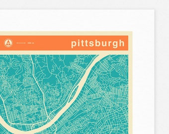 PITTSBURGH MAP (Giclée Fine Art Print, Photographic Print or Poster Print) colored version