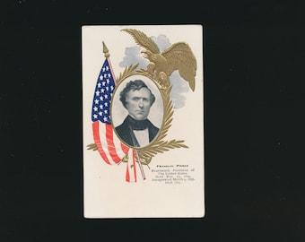 vintage collectible postcard, President Franklin Pierce
