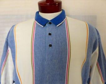 vintage 80's 90's Colours by Alexander Julian blue white pique knit polo shirt pink green yellow orange vertical stripe color block Large