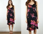 Vintage Floral Dress / 1990s Fitted Dress / Spaghetti Strap Dress / Ruffle Hem Dress / Little Black Dress / LBD / Romantic Dress / Medium