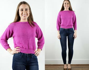 Vintage Pink Sweater / Cropped Sweater / Long Sleeve Sweater / Petite Sweater / 3/4 Sleeve / 1980s Sweater / Bright / Colorful / Small