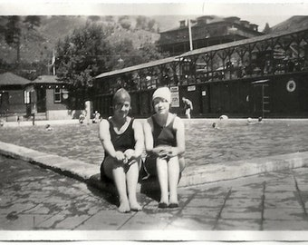 Old Photo 2 Women wearing Swimsuits by Pool Colorado Springs 1920s Photograph Snapshot vintage