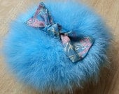 Marabou Feather Powder Puff (large size)  AQUA with Silk Brocade Bow - READY to Ship