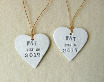 Wedding Hearts Favor, 50 Personalized Wedding Favor, Wedding Date Favor, Initials Ceramic Hearts