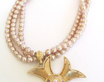 Vintage double strand champagne pearl gold tone maltese cross necklace