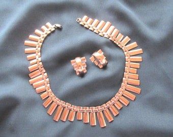Renior peter pan copper necklace and earring set, vintage copper jewelry