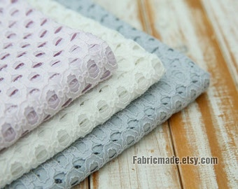 Embroidered Cotton Fabric, Hollowed Hexagon Lace Fabric, Lilac Ivory Light Blue lace Fabric- 1/2 yard Lace