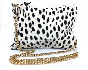 Dalmatian Print II Crossbody handbag clutch purse with gold chain