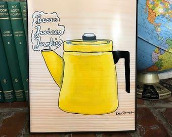 Yellow Percolator   bean juice junkie   coffee art   vintage inspired art   indie art   8x10 print   retro inspired art   retro rewind