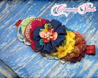 Navy Blue, Yellow, Fuchsia, Rust Orange Hair Piece, Fabric Flower Headband, Hair Clip, Flower Headband, Hair Accessory