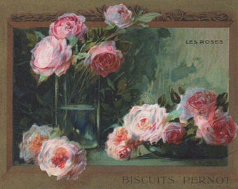 Splendid Pink Roses - Biscuits Pernot - Antique Victorian Trade Card