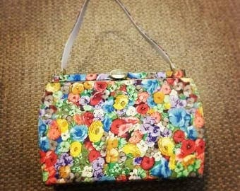 Vintage 50s Town and Country Floral Purse Handbag Retro