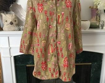 50s Beat the Band Novelty Print Linen Shirt