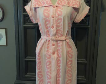 50s Pink Cotton Summer Dress