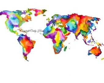 Art Print, Original watercolor print, world map, map, maps, world