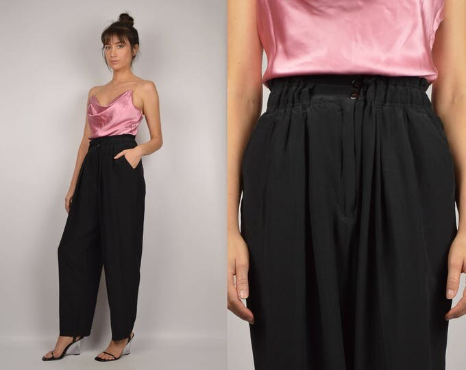 Black Silk High Waist Minimalist Trousers