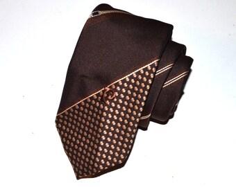 Pierre Cardin Necktie, Men's Vintage Dark Brown Necktie, Chocolate Brown Tie, Striped Vintage Designer Tie, Men's Neckwear, Designer Necktie