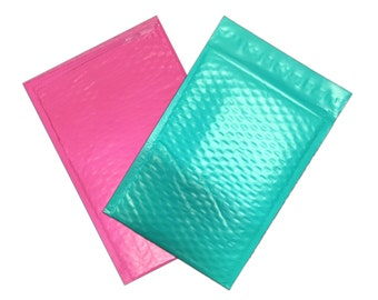 "50 Pack 4x8"" Hot Pink & Teal BUBBLE MAILERS, Protective Hot Pink n Teal Padded Envelopes, Approved Mailer Shipping Envelopes"