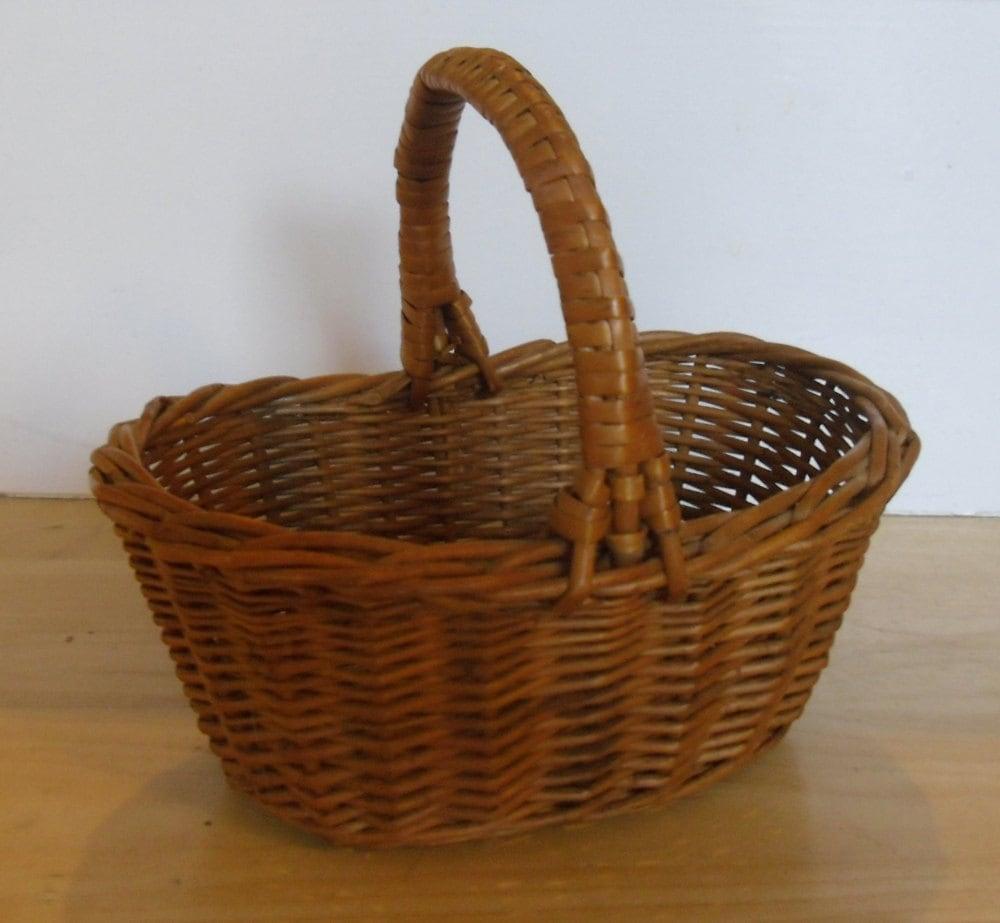 vintage basket small handled basket french wicker basket. Black Bedroom Furniture Sets. Home Design Ideas