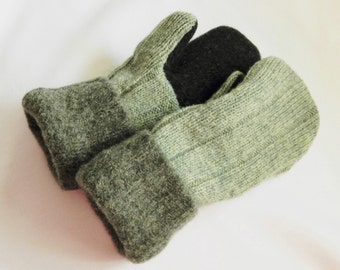 Teen/Womans - Felted Wool Mittens - Green/Hunter Green - Wool Mittens - Felted Sweater Mittens