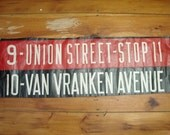 "vintage 40's bus destination sign ""union street & van vranken ave"" schenectady, ny"