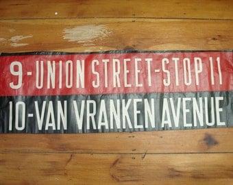 "vintage 40's bus destination sign ""union street & van vranken ave"" schenectady, ny"