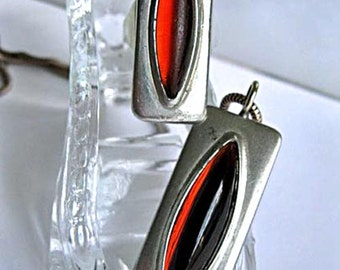 Jorgen Jensen Pendant and Ring, Pewter Mid Century Modern, Amber Domed Glass Cabstone Matched Pair