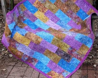 Quilt - Lap Quilt, Sofa Quilt, Quilted Throw - Purple Blue and Brown Batik Quilt - Transitions Lap Quilt