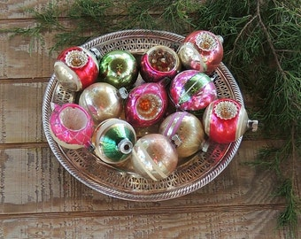 Mid Century Blown Glass Pink Tree Ornaments Set of 12 Assorted Pink and Green Holiday Decor Tree Trimming Mercury Glass