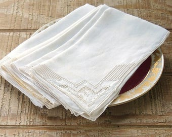 Gorgeous Antique Beige Embroidered Linen Dinner Napkins, Set of 4, French Country Wedding Cottage Chic Ecru Openwork Dinner Napkin Set