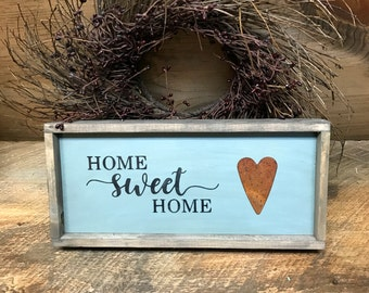 Home Sweet Home, Rustic Wooden Sign, Housewarming Gift, Rusted Heart, Framed Signs, Signs for The Home, Rustic Decor, Home Is Where