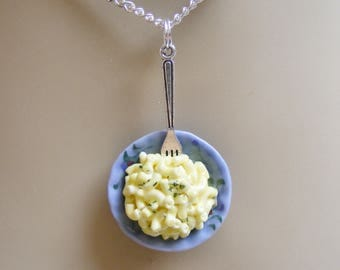 Food Jewelry, Mac and Cheese Necklace, Miniature Food Jewellery, Macaroni Cheese Necklace, Mini Food Jewelry, Mac and Cheese Pendant, Charm