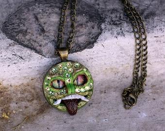 Polymer Clay Jewelry, Small Pendant, Horror Jewelry, Gift for Her, Alternative Jewelry, Japanese Mask, Swarovski crystal, bling jewelry