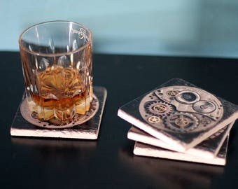 Drink Coaster Set, Marble Coasters, Steampunk Home Decor, Coasters, Gears,