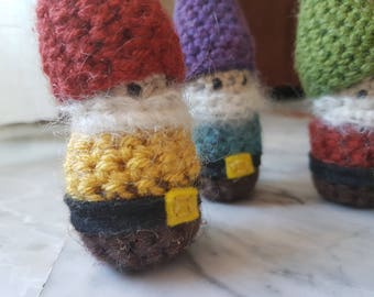 Gnome Crochet Stuffed Doll Toy Lucky Pocket Yellow Red Yarn